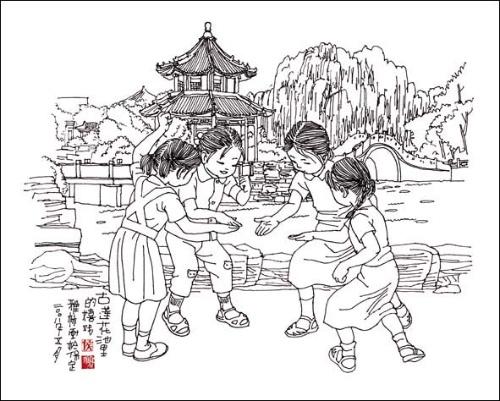 荷花池简笔画手绘