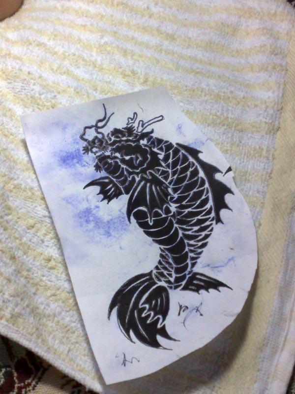 纹身---鱼化龙图腾图片