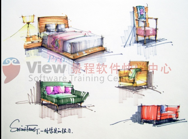 室内沙发单体手绘线稿