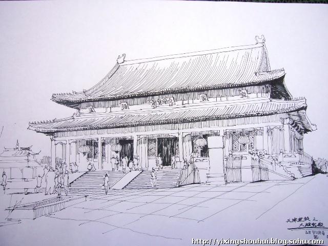 天津建筑手绘 大悲禅院
