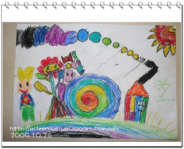 花和蜗牛是好朋友,彩色的小房子是小兔子的家,冒的烟也是彩色的;太阳