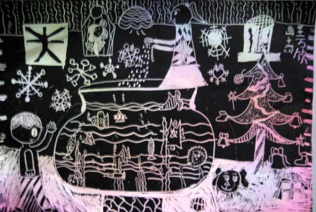 刮画作品 砂纸画剪贴画版画水粉画黑白画动漫画纸盘画葫芦画连