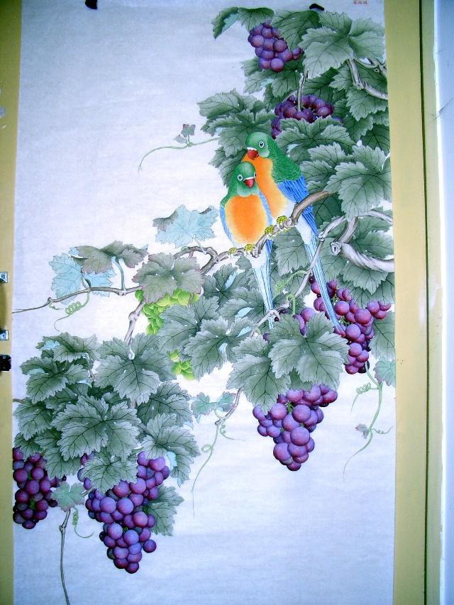 工笔画,葡萄鹦鹉,颗颗珍珠,垂涎欲滴