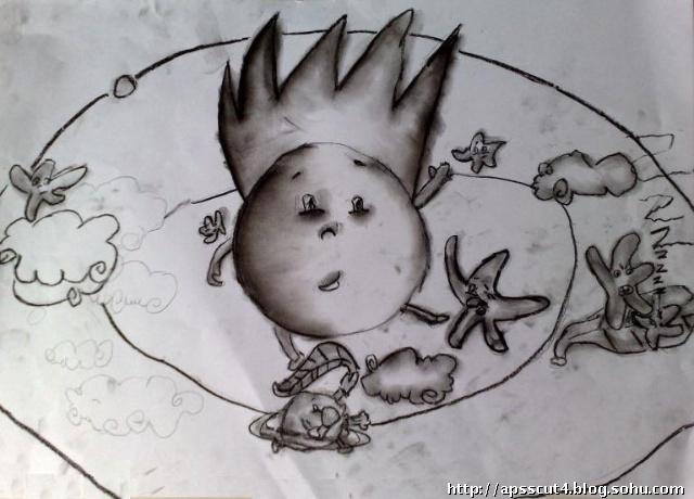 余立凡 画的素描画——球体素描想象画