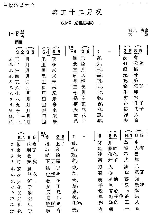 窑工十二月叹-曲谱歌谱大全-搜狐博客