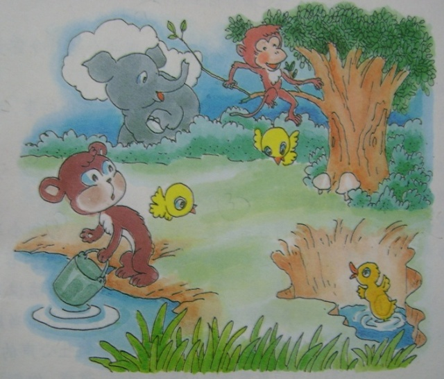 """小鸭子得救了 上海师范大学附属外国语小学 三(5)班 郭玉芊 春天来了,大地一片生机勃勃,所有的动物都在森林里玩耍。当然,小鸭、小猴、小熊和小鸟也不例外。 动物们正玩得尽兴时,小鸭子不小心掉进了一个深坑里。 """"救命!救命!""""小鸭急得拍着翅膀直呼救。动物们都围了过来,想办法救小鸭。 """"叽叽喳喳""""小鸟们说:""""看我们的!""""它们想飞下深坑把小鸭抬上来,可是小鸭子太重了,这个方法不行;""""咚咚唰唰""""小猴子蹦蹦跳跳跃上树枝说"""