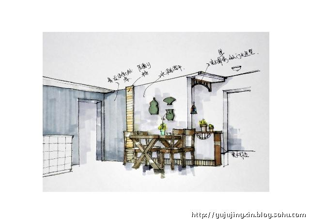 下面是玄关及餐厅的一张手绘图