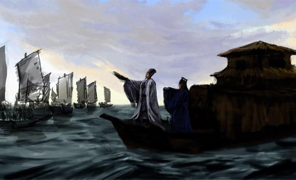 描绘的是借箭成功以后,大江上浓雾散去,诸葛亮凯旋而归时的场景.图片