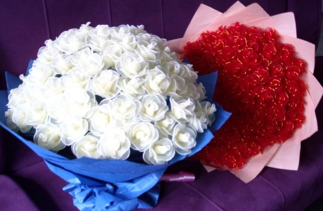 99朵玫瑰花 手工制作丝网花
