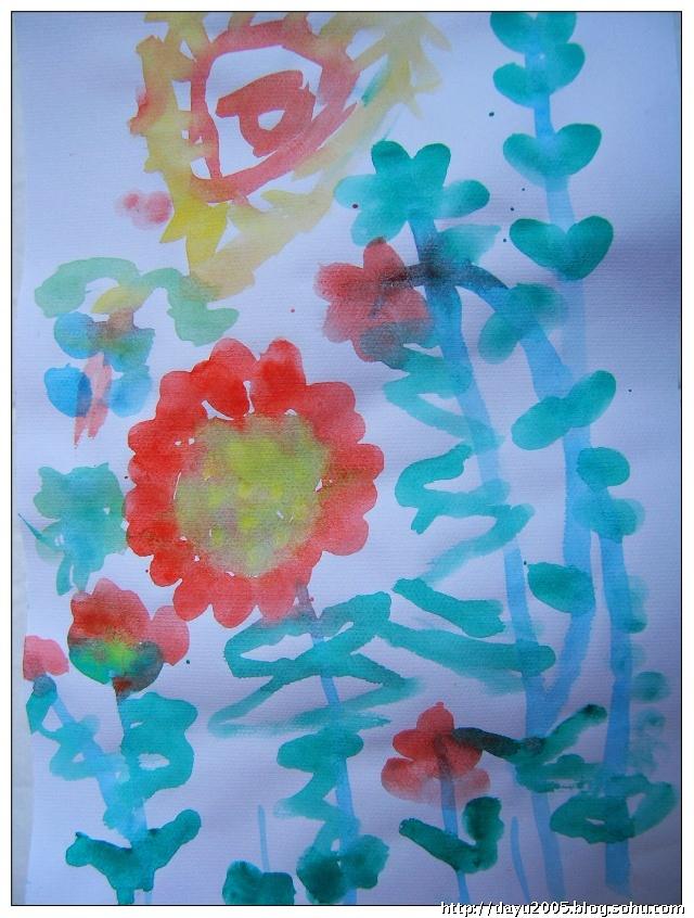 (1)指印画---花在从中笑(那些花瓣和树叶都是大羽用大拇指印印上去
