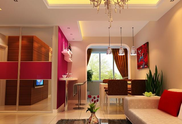 一套获奖 小户型 装修效果图设计方案; 隐形门,电视背景墙,小户型装修
