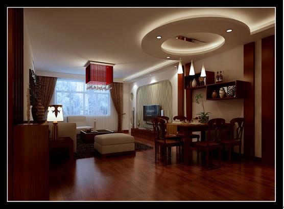 客厅效果图,石膏板造型电视墙结合壁纸,很简约