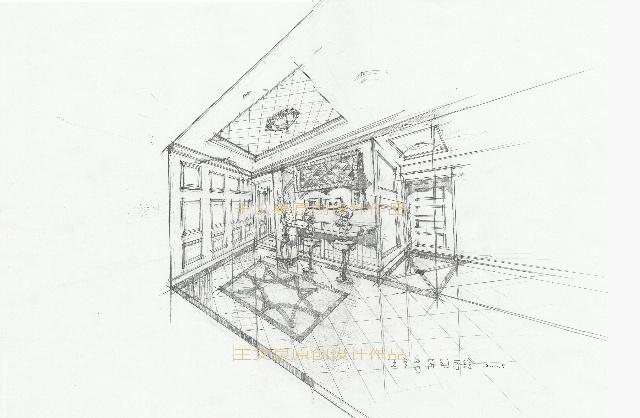 室内客厅设计手绘平面图