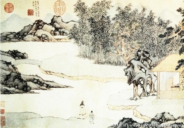 真赏斋图 文徵明 长卷 纸本 设色画 上海博物馆藏