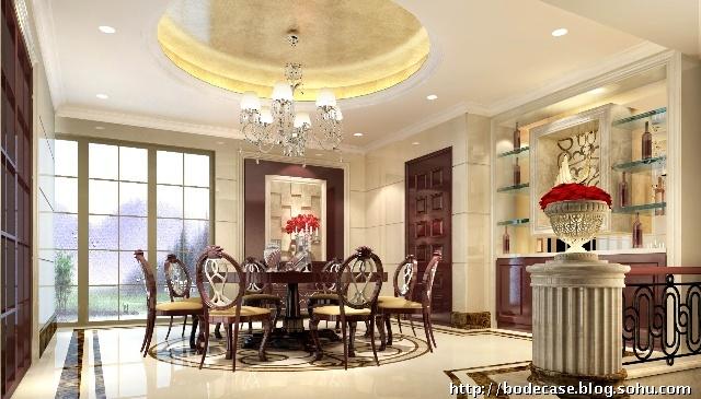 圆形的天花设计,圆形的欧式餐台以及圆形的地面磁砖