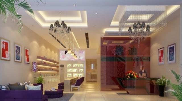 美甲店装修设计   商场内9平方 美甲店装修 3d效果图设计- 商