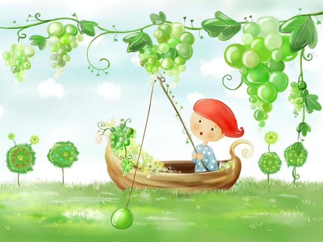 春天小树发芽可爱卡通图片