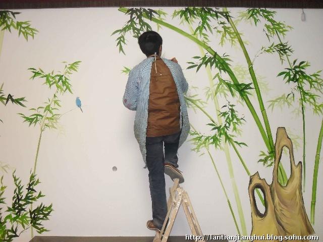 手绘墙画中画竹的一些感悟