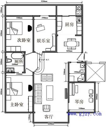 九宫图来分析,此户型娱乐室位于官星位置,如果将其改为书房或者让病者