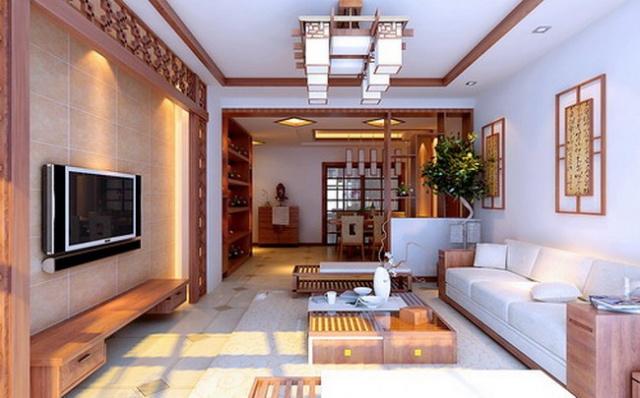 新中式木格栅电视背景