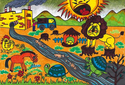 儿童水画作品_儿童树叶粘贴画图片_儿童放风筝画_儿童足球画