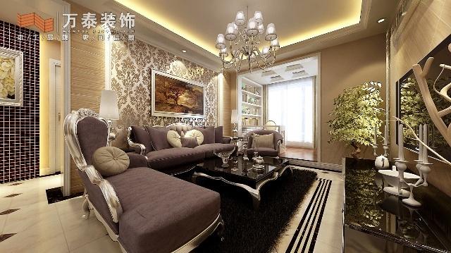 万泰装饰名士豪庭两室两厅95平设计效果图案例
