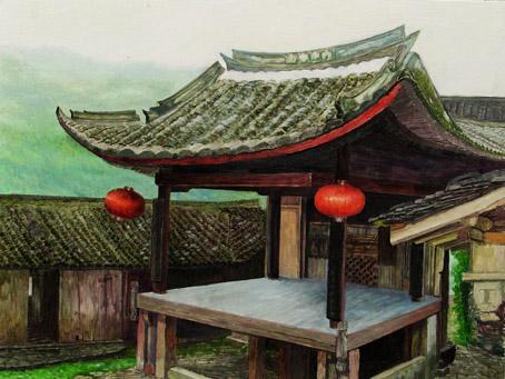 油画棒房屋风景图片