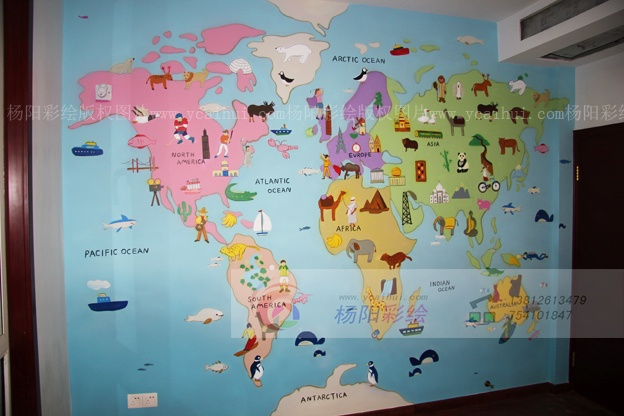 卧室世界地图装饰-儿童房卡通壁画-苏州手绘墙-搜狐