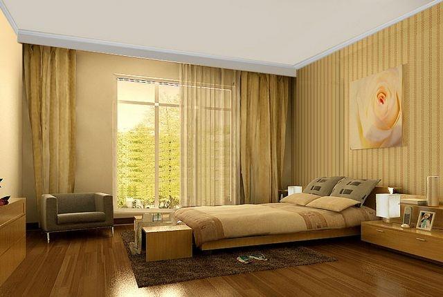 卧室贴壁纸效果图 卧室床头壁纸效果图