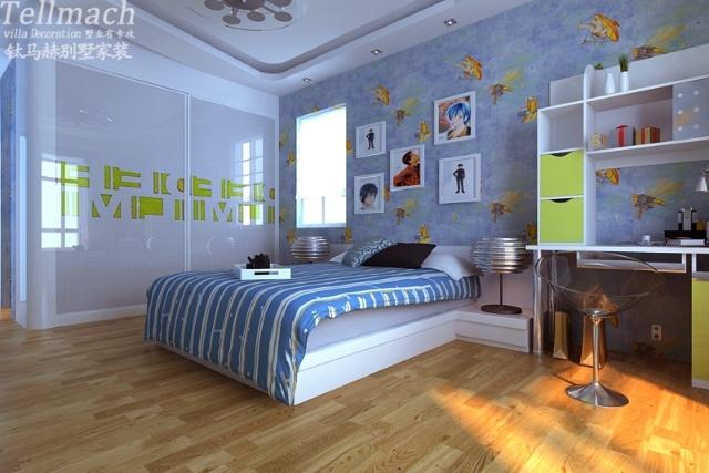 臥室 床頭 刷漆藍色背景墻 效果圖 現代
